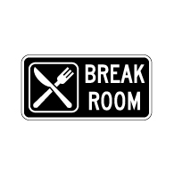 Employee Break Room Sign with Symbol and Text - 12x6 - Non-Reflective rust-free aluminum signs