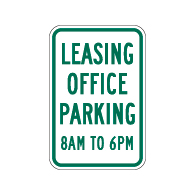 Leasing Office Parking Hours Signs - 12x18 - Reflective Rust-Free Heavy Gauge Aluminum Property Management Signs