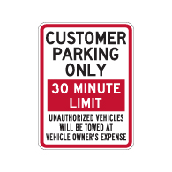 Customer Parking Only Sign - Choose Your Own Time Limit - 18x24