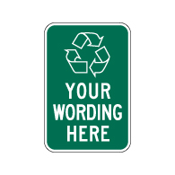 Custom Recycling Sign with Recycling Symbol - 12x18 - Made with Reflective Rust-Free Heavy Gauge Durable Aluminum.