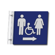 Flag Style Accessible Unisex Restroom Wall Sign with Directional Arrow - 10x10 - Made with Attractive Matte Finished Acrylic and Includes Polished Aluminum Wall Bracket and Hardware. Available at STOPSignsAndMore.com