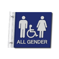 Flag Style Wall Mounted Accessible All Gender Restroom Sign with Wheelchair Symbol - 10x10 - Made with Attractive Matte Finished Acrylic and Includes Polished Aluminum Wall Bracket and Hardware. Available at STOPSignsAndMore.com