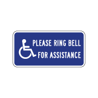 Please Ring Bell For Assistance Sign - 12x6 - Powder-coated Baked Enamel ADA Guide Signs