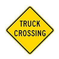 Truck Crossing Warning Sign - 24x24 - Regulation Reflective Rust-Free Heavy Gauge (.063) Aluminum Road Signs