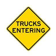 Buy Trucks Entering Road Warning Signs - 24x24 - Regulation MUTCD Trucks Entering Reflective Road Signs on Rust-Free Heavy Gauge Aluminum