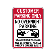 Customer Parking No Overnight Parking Tow-Away Signs - 18x24 - Available from STOPSignsAndMore.com
