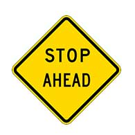 W3-1A - STOP Ahead Text Warning Sign -  Reflective Rust-Free Heavy Gauge (.063) Aluminum Road Signs