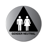 (Gender Neutral) Restroom Door Sign in attractive Brushed Aluminum with Male and Female Pictograms on Black Triangle