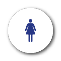 ADA Compliant and CA Title 24 Compliant Womens Restroom Door Sign with White Circle and Female Symbol - 12x12 size. Our ADA Restroom Signs meet regulations and will pass Title 24 building inspections.