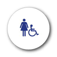 ADA Compliant and Title 24 Compliant Womens Restroom Door Sign w/ISA Symbol on White Circle -12x12. Our ADA Restroom Signs meet regulations and will pass Title 24 building inspections