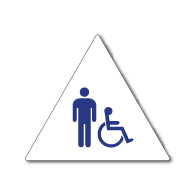 ADA Compliant and Title 24 Compliant Mens Restroom Door Sign w/ISA Symbol on White Triangle - 12x12. Our ADA Restroom Signs meet regulations and will pass Title 24 building inspections