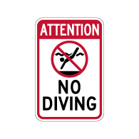 Attention No Diving Warning Sign - 12x18 - Made with 3M Engineer Grade Reflective Rust-Free Heavy Gauge Durable Aluminum available for fast shipping from STOPSignsAndMore