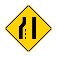 W4-2L Left Lane Ends Merge Right Warning Sign - 30x30 Diamond. Made with High Intensity Prismatic (HIP) Reflective Sheeting and Rust-Free Heavy Gauge Aluminum from STOPSignsAndMore.com
