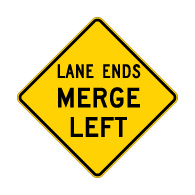 W9-2L Lane Ends Merge Left Warning Sign - 30x30 Diamond. Made with High Intensity Prismatic (HIP) Reflective Sheeting and Rust-Free Heavy Gauge Aluminum from STOPSignsAndMore.com