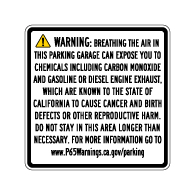 Proposition 65 Enclosed Parking Facilities Warning Sign - 20x20 - Outdoor rated Non-Reflective aluminum Parking Garage Warning Signs
