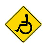Federal MUTCD W11-9 - Wheelchair Warning Signs - 24x24  - Reflective Rust-Free Heavy Gauge Aluminum