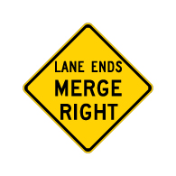 W9-2R Lane Ends Merge Right Warning Sign - 30x30 Diamond. Made with High Intensity Prismatic (HIP) Reflective Sheeting and Rust-Free Heavy Gauge Aluminum from STOPSignsAndMore.com