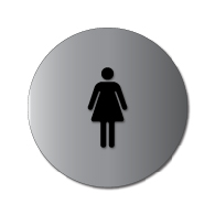 ADA Womens Restroom Door Sign with Female Symbol - 12x12 - Brushed aluminum is an attractive alternative to plastic ADA signs