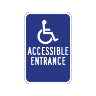 ADA Disabled Access Entrance Signs with No Arrow - 12x18 - Reflective Rust-Free Heavy Gauge Aluminum ADA Access Signs