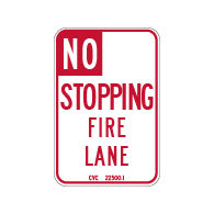 MUTCD Compliant R26F California No Stopping Fire Lane Signs - 12x18 - Made with Engineer Grade Reflective Sheeting & Rust-Free Heavy Gauge Durable Aluminum at STOPSignsAndMore
