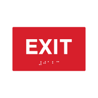 ADA Compliant Exit Signs with Tactile Text and Grade 2 Braille - 5x3 - Special Colors Available.