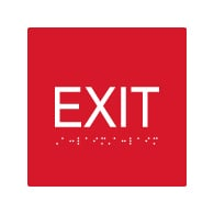ADA Compliant Exit Signs with Tactile Text and Grade 2 Braille - 6x6 - Special Colors Available.