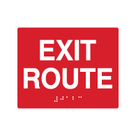 ADA Custom Color Compliant Exit Route Signs with Tactile Text and Grade 2 Braille - 5x4