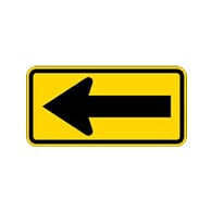W1-6L - Left Arrow Warning Signs - 24x12 - Official MUTCD Reflective Rust-Free Heavy Gauge Aluminum Road Signs