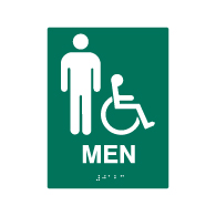 ADA Compliant Accessible Mens Restroom Wall Signs - 6x8 - Custom Colors Available