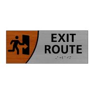ADA Signature Series Exit Route Sign With Tactile Text and Grade 2 Braille - 10x4