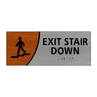 ADA Signature Series Exit Stair Down Sign With Tactile Text and Grade 2 Braille - 10x4