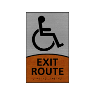ADA Signature Series Exit Route Sign With Tactile Text and Grade 2 Braille - 6x10