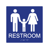 ADA Compliant Family Unisex Restroom Wall Sign - Tactile Text and Grade 2 Braille - 8x8