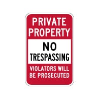 Private Property No Trespassing Sign - 12x18 - Reflective rust-free heavy-gauge aluminum No Trespassing Signs