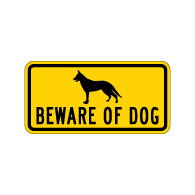 Beware of Dog Security Sign - 12x6 - Reflective Aluminum Guard Dog Signs
