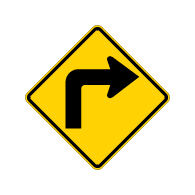 W1-1R Right Turn Ahead Warning Sign H.I.P. - 24x24 -Rust-Free Heavy Gauge Aluminum Road Sign