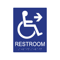 ADA Compliant Wheelchair Access Pictogram Restroom Wall Sign with Right Directional Arrow. Tactile Text and Grade 2 Braille Included