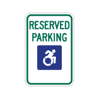 R7-8 New York Disabled Reserved Parking Signs - No Arrows - 12x18 - Reflective Rust-Free Heavy Gauge Aluminum ADA Parking Signs