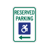 R7-8 New York Disabled Reserved Parking Signs - Left Arrow - 12x18 - Reflective Rust-Free Heavy Gauge Aluminum ADA Parking Signs