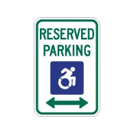 R7-8 New York Disabled Reserved Parking Signs - Double Arrow - 12x18 - Reflective Rust-Free Heavy Gauge Aluminum ADA Parking Signs