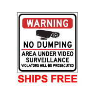Label - Warning No Dumping Area Under Video Surveillance - 9x9 (Pack of 3) - Digitally printed on rugged vinyl using outdoor-rated inks. Buy Video Surveillance Stickers and Security Warning Labels from StopSignsandMore