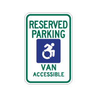 R7-8 New York Disabled Reserved Parking Van Accessible Signs - 12x18 - Reflective Rust-Free Heavy Gauge Aluminum ADA Parking Signs