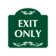 Decorative Mission Style Exit Only Sign - 18x18 - Made with 3M Reflective Rust-Free Heavy Gauge Durable Aluminum available for quick shipping from STOPSignsAndMore.com