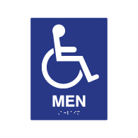 ADA Compliant Accessible Symbol Men Restroom Wall Signs - 6x8