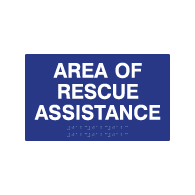 Google Shop: ADA Compliant Area Of Rescue Assistance Signs with Tactile Text and Grade 2 Braille - 10x6
