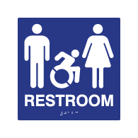 ADA Accessible Unisex Restroom Wall Signs with Active Wheelchair Symbol, Tactile Text and Grade 2 Braille - 8x8