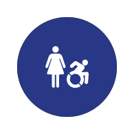 ADA Compliant and Title 24 Compliant Restroom Door Signs with Female and Active Wheelchair Symbol - 12x12