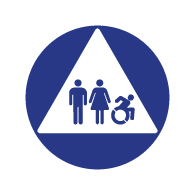 ADA Compliant and Title 24 Compliant Unisex Restroom Door Signs with Male, Female and Active Wheelchair Symbols - 12x12
