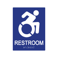 ADA Restroom Wall Sign with Active Wheelchair Symbol - 6x8 - ADA Compliant Restroom Signs are high-quality and professionally manufactured right here in the USA!