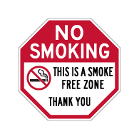 No Smoking This Is A Smoke Free Zone STOP Sign - 18x18 - Made with Engineer Grade Reflective Rust-Free Heavy Gauge Durable Aluminum available at STOPSignsAndMore.com